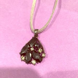 Jewelry - Vintage Leather necklace black crystal broach